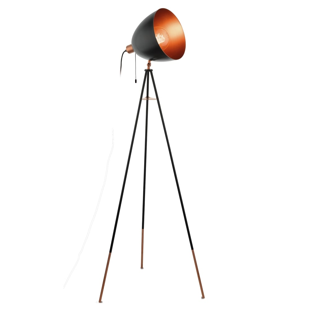 Eglo vintage chester single light steel floor lamp in black and chester single light steel floor lamp in black and copper finish aloadofball Image collections