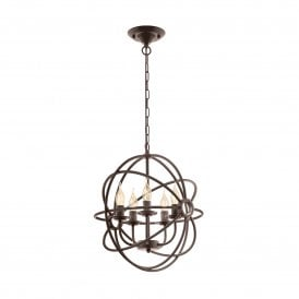 Ebrington 5 Light Rust Coloured Ceiling Pendant