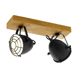 Gatebeck 2 Light Ceiling Spot in Natural Wood and Black Steel Finish