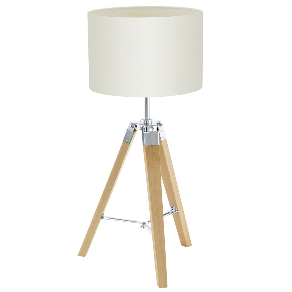 Lantada Single Light Natural Wooden Tripod Table Lamp