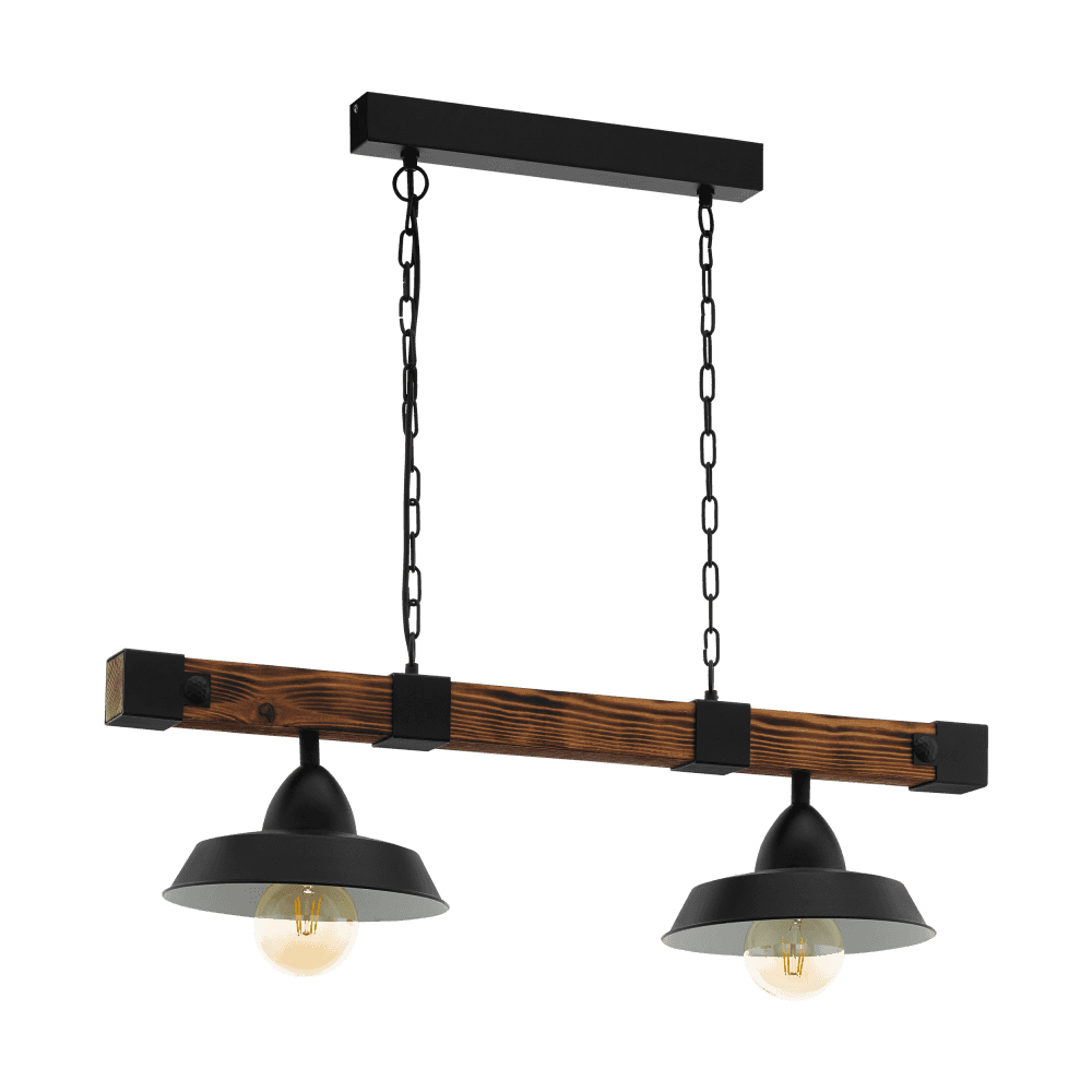 Eglo Vintage Oldbury 2 Light Ceiling Bar Pendant In Black