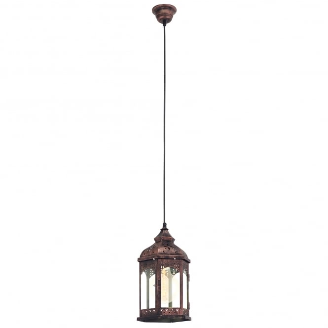 Eglo Vintage Redford 1 Single Light Steel Ceiling Pendant in Copper Finish