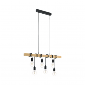 Townshend 6 Light Ceiling Pendant in Black Steel with Wood Detail