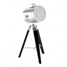 Upstreet Single Light Tripod Table Lamp in Black Wood and Chrome Finish