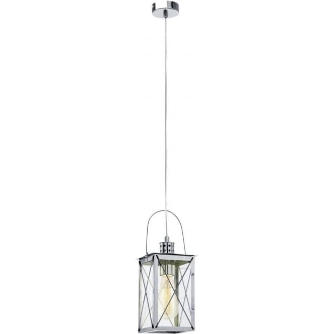 Eglo Vintage Vintage Single Light Ceiling Lantern Pendant In Polished Chrome Finish With Clear Glass