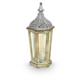 Vintage Single Light Table Lamp In Natural Wood And Silver Finish With Clear Glass