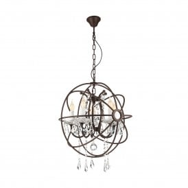 West Fenton 5 Light Rust Coloured Ceiling Pendant With Clear Crystal Decoration