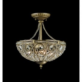 Elche Lead Crystal 3 Light Semi Flush Ornate Ceiling Fitting