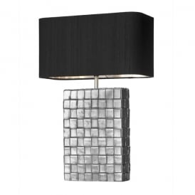 Element Single Light Table Lamp in Pewter Chrome Finish with Black 100% Silk Shade