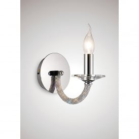Elena Switched Single Light Polished Chrome Wall Fitting with Crystal Detail