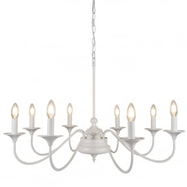 Elizabethan 8 Light Ceiling Pendant In Matt White Finish