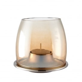 Ellison Tealight Holder in Polished Aluminium and Gold Lustre Glass