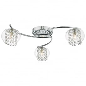 Elma 3 Light Semi Flush Ceiling Fitting in Polished Chrome Finish Complete with Glass Shades