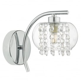 Elma Single Light Wall Fitting in Polished Chrome Finish Complete with Glass Shade