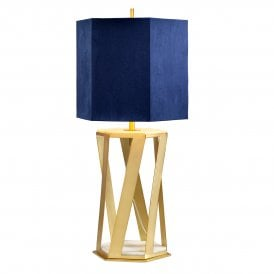 Apollo Single Light Table Lamp in Brushed Brass Finish with Marble Inserts and Navy Blue Faux Suede Shade