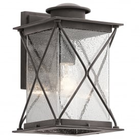 Argyle Single Light Outdoor Medium Wall Lantern in Weathered Zinc Finish with Seeded Glass