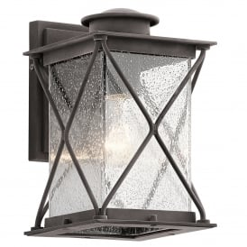 Argyle Single Light Outdoor Small Wall Lantern in Weathered Zinc Finish with Clear Seeded Glass
