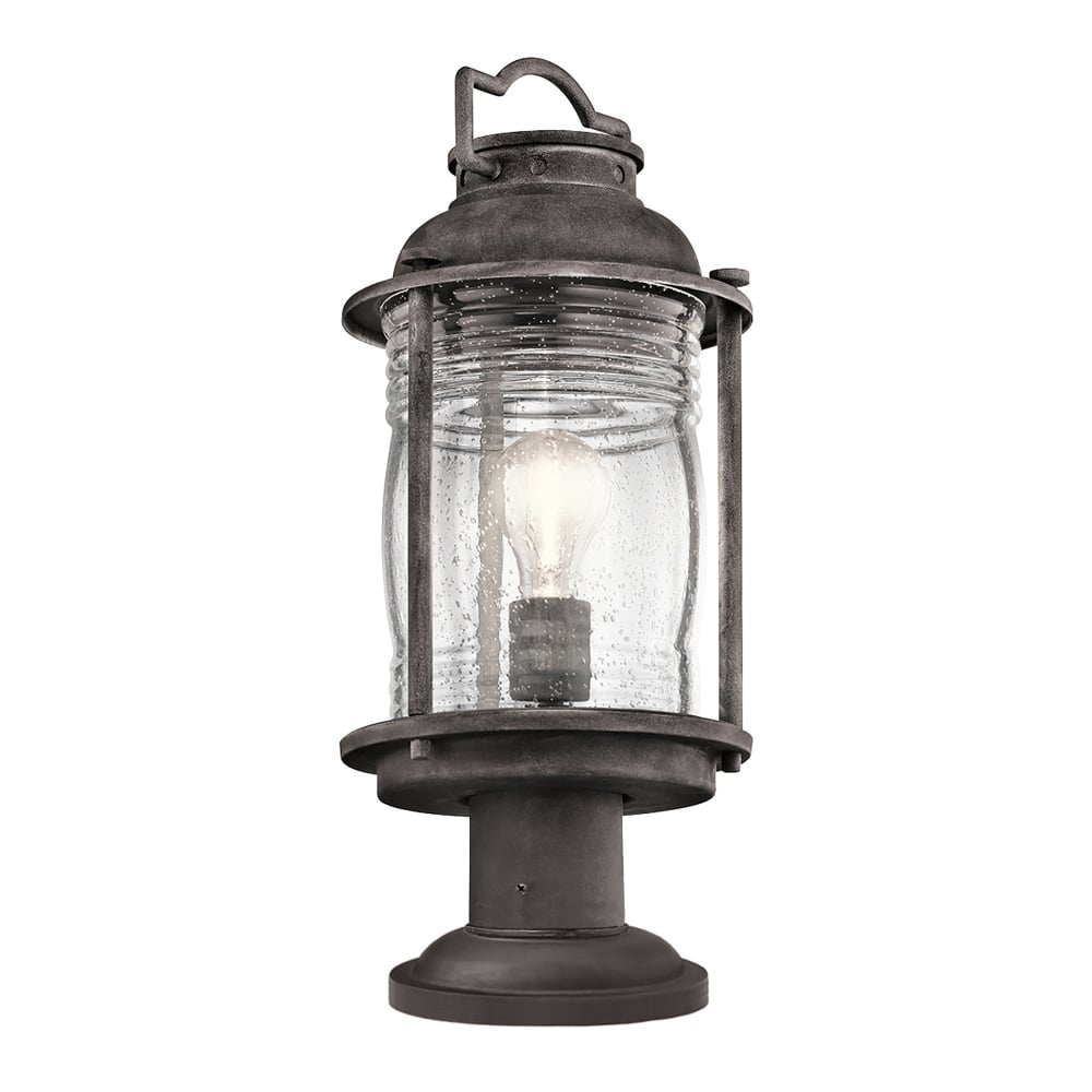 Cheltenham Cast Pedestal Lantern Light Black: Elstead Lighting Ashland Bay Outdoor Single Light Pedestal