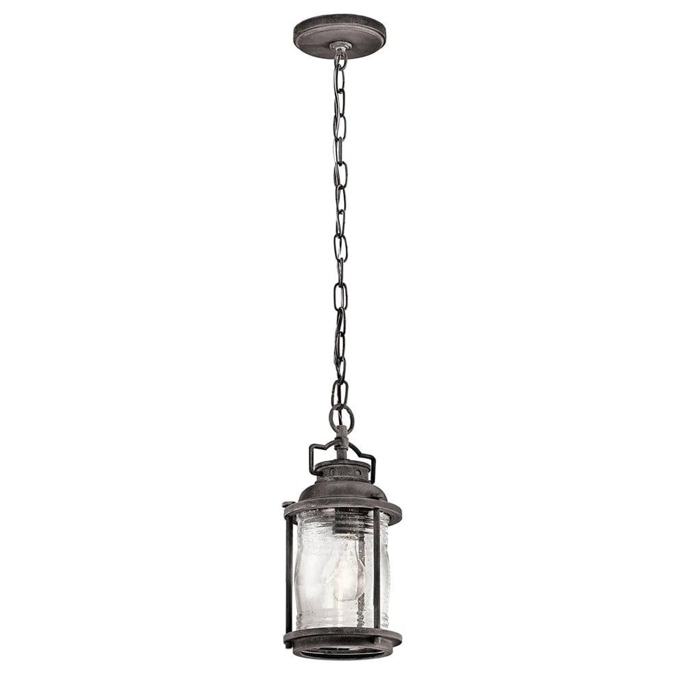 Ashland Pedestal Lantern In Weathered Zinc: Elstead Lighting Ashland Bay Single Light Ceiling Chain