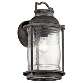 Ashland Bay Single Light Large Wall Lantern in Weathered Zinc Finish and Clear Glass