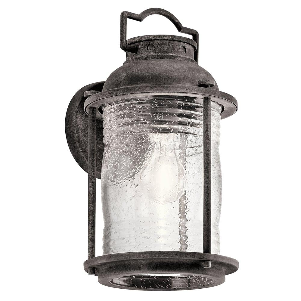 Ashland Pedestal Lantern In Weathered Zinc: Elstead Lighting Ashland Bay Single Light Medium Wall