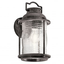 Ashland Bay Single Light Medium Wall Lantern in Weathered Zinc Finish with Clear Glass