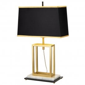 Atlas Single Light Table Lamp in Brushed Brass Finish with Black Tapered Shade