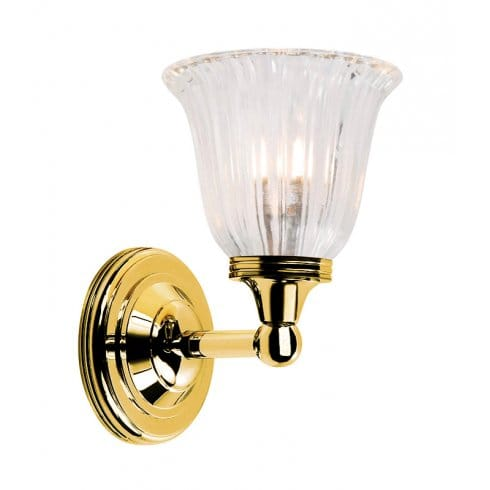 Elstead Lighting Austen Single Light Bathroom Fixture In Polished Brass With Tulip Shade