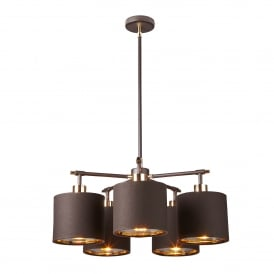 Balance 5 Light Ceiling Pendant In Brown And Polished Brass Finish