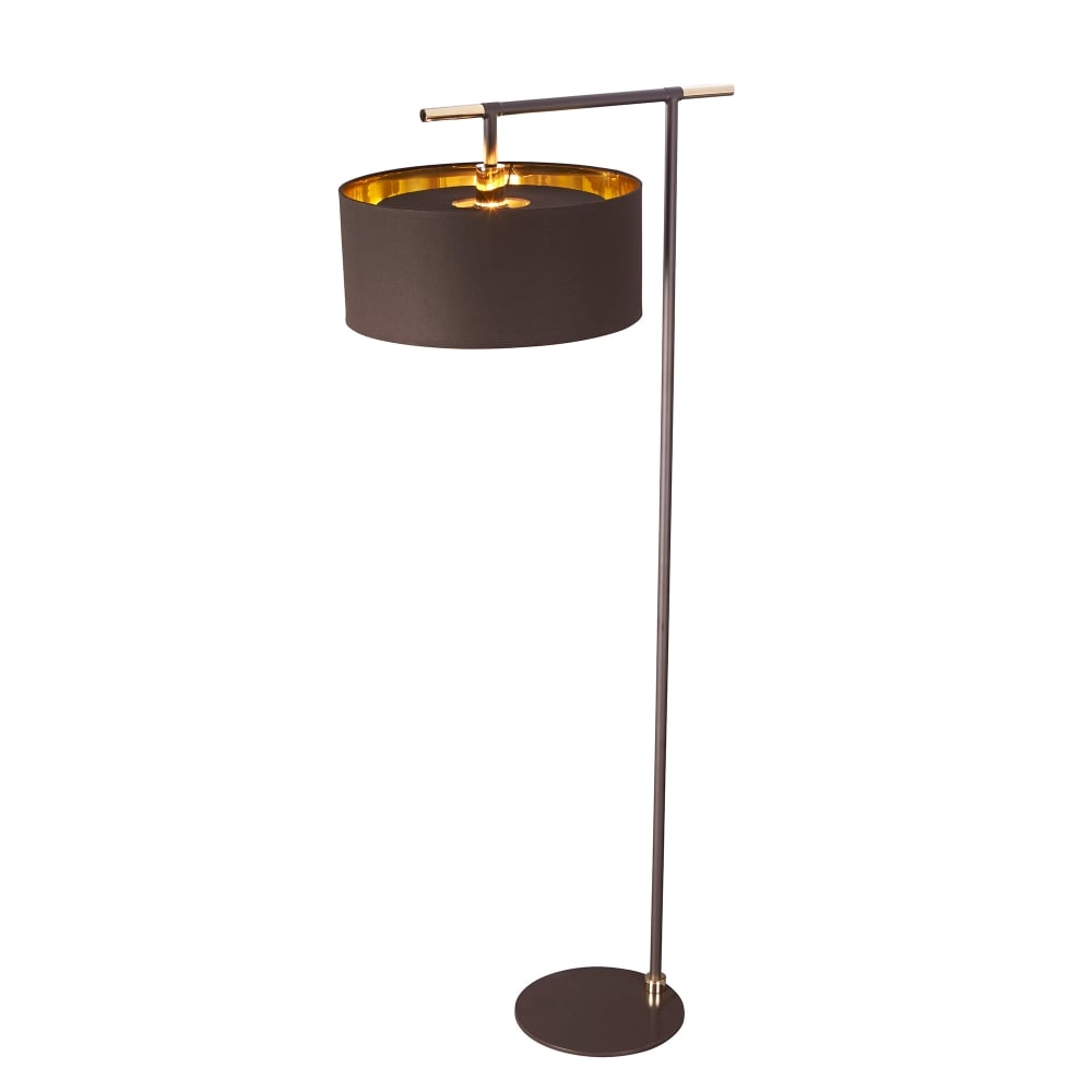 elstead lighting balance single light floor lamp in brown and polished brass finish lighting. Black Bedroom Furniture Sets. Home Design Ideas