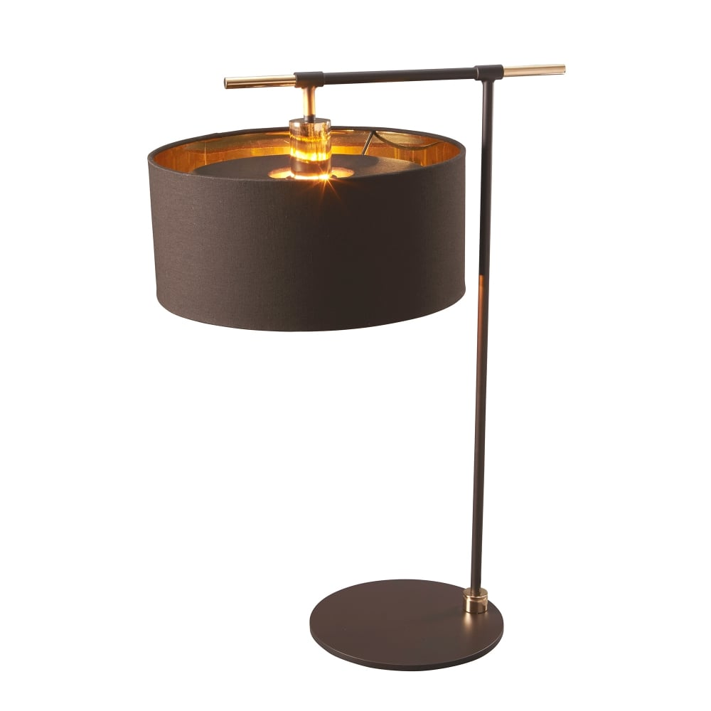 Elstead lighting balance single light table lamp in brown and polished brass finish lighting - Table lamp types ...