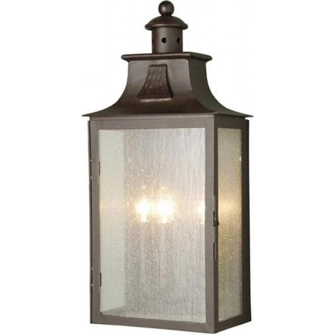 Balmoral outdoor 3 light wrought iron half wall lantern with an old bronze patina