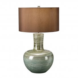 Barnsbury Ceramic Single Light Table Lamp in Green Complete with Brown Cylindrical Shade