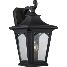 Bedford Coastal Single Light Large Wall Lantern in Mystic Black Finish with Seeded Glass