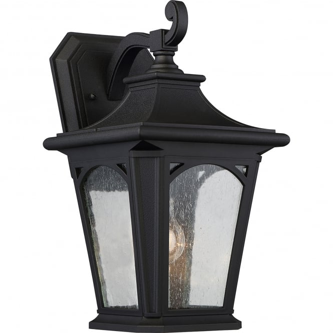 Elstead Lighting Bedford Coastal Single Light Medium Wall Lantern in Mystic Black Finish with Seeded Glass