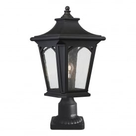 Bedford Coastal Single Light Pedestal Fitting in Mystic Black Finish with Seeded Glass