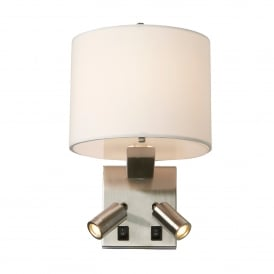 Belmont 3 Light Switched Wall Fitting with LED Reader in Brushed Nickel Complete with White Shade