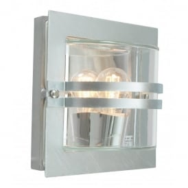 BERN ART.650 GAL Norlys Bern Single Light Galvanised Outdoor Wall Fitting with Clear Lens