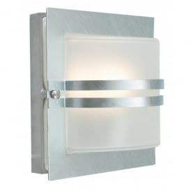 BERN ART.651 GAL F Norlys Bern Single Light Galvanised Outdoor Wall Fitting with Frosted Glass