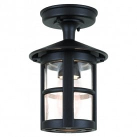 BL21A Hereford Single Light Outdoor Semi-Flush Ceiling Lantern in a Black Finish