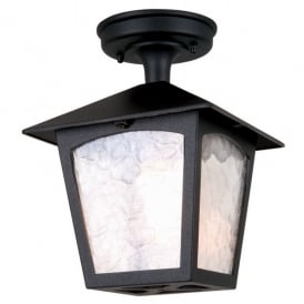 BL6A York Single Light Semi-Flush Outdoor Ceiling Lantern in a Black Finish
