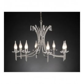 BR8 Brightwell 8 Light Chandelier with Polished Nickel Finish