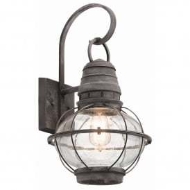 Bridgepoint Outdoor Single Light Large Wall Lantern in Weathered Zinc Finish with Seeded Glass