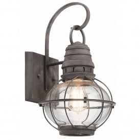 Bridgepoint Outdoor Single Light Medium Wall Lantern in Weathered Zinc Finish with Seeded Glass