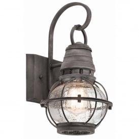 Bridgepoint Outdoor Single Light Small Wall Lantern in Weathered Zinc Finish with Seeded Glass