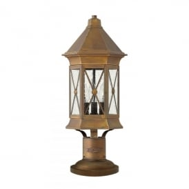 Brighton 3 Light Outdoor Pedestal Light in Solid Brass