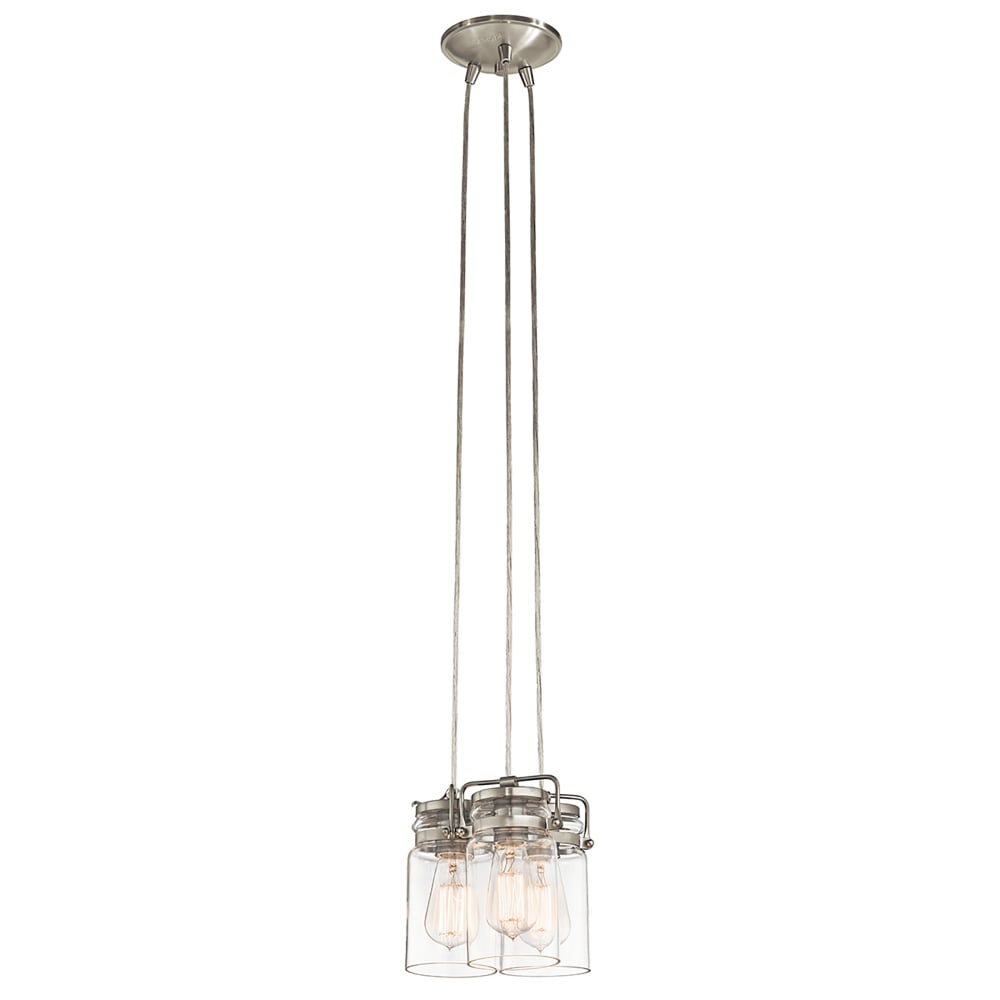 3 Light Led Ceiling Pendant Brushed Nickel Contemporary: Elstead Lighting Brinley 3 Light Ceiling Pendant In