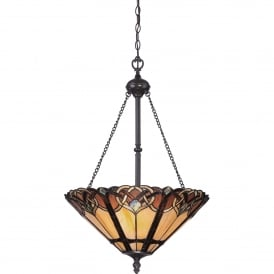 Cambridge 3 Light Ceiling Pendant in Vintage Bronze Finish with Tiffany Glass Shade
