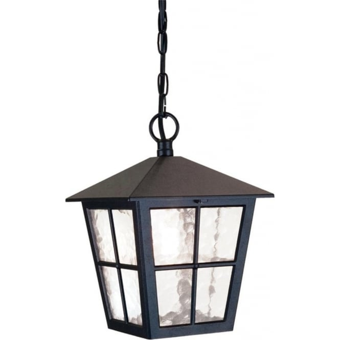 Elstead Lighting Canterbury Single Light Outdoor Pendant Lantern in a Black Finish