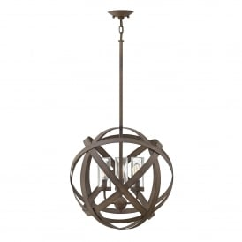 Carson Outdoor 3 Light Ceiling Chandelier in Vintage Iron Finish with Seeded Glass